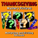 Thanksgiving Multiplying & Dividing Decimal Project, Color By Number Code Sheets