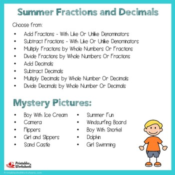 Summer Fractions and Decimals Mystery Pictures