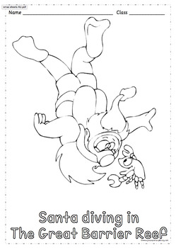 52 Australian Themed Christmas Colouring Sheets Handouts Printables Portrait A4