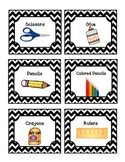 52 Black Chevron Supply Labels