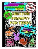 52 CREATIVE WRITING PROMPTS for TEENS; all year + Hallowee