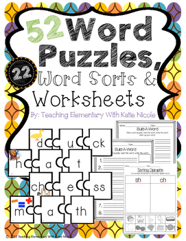 52 Word Puzzles, 22 Word/Picture Sorts & Worksheets