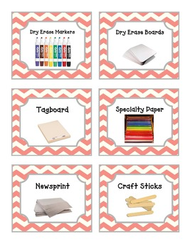 52 Coral Red Chevron Supplies Labels