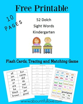 52 Dolch Sight Words For Kindergarten