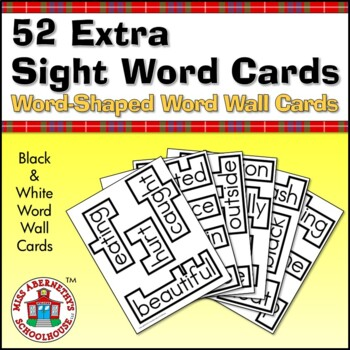 52 Extra Sight Word Word Wall Cards with Word-Shaped Borders