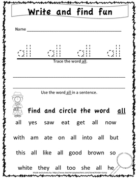 52 Kindergarten Dolch Sight Word Printable Worksheets by ...