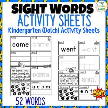 52 Kindergarten SUPER Sight Words Practice Dolch Printables