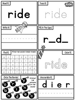 Kindergarten Sight Words Activity Worksheets Dolch