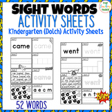 52 Kindergarten SUPER Sight Words Practice (Dolch) Printables