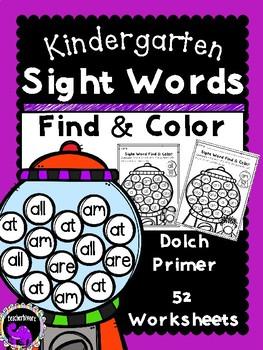52 Kindergarten Sight Word Find & Color Worksheets: Dolch Primer
