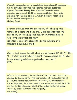 52 Middle School Math Problems of the Day