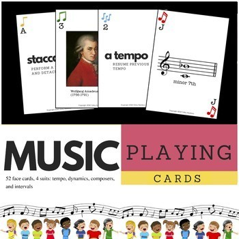 Music Face Card Deck for Choir, Band, and Orchestra Playing Cards