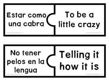 52 PUZZLES -Modismos - Idioms in Spanish -- Print and Go!