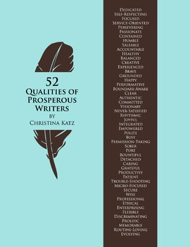 52 Qualities Of Prosperous Writers 8.5 x 11 Classroom Poster