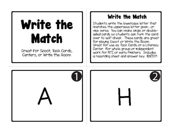 52 Upper/Lowercase Letter Match Task Cards for SCOOT, Write the Room, Centers