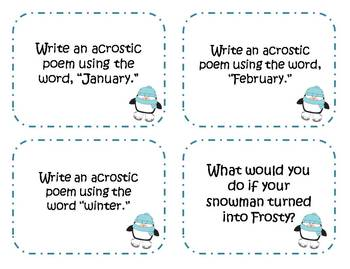 52 Winter Writing Prompts and Story Starter Task Cards