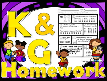 52 weekly /k/ & /g/ homework printables - speech therapy,