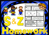 52 weekly /s/ & /z/ homework printables (354 act.) - speech therapy, 5 min kids