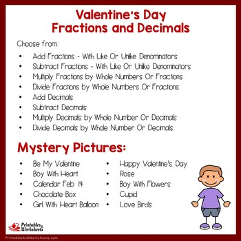 Valentine's Day Fractions and Decimals Mystery Pictures