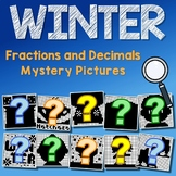 Winter Fractions And Decimals Project, Math Mystery Coloring Pages