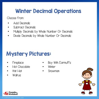 Winter Decimal Operations Bundle