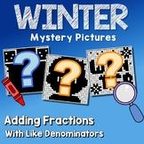 Middle School Math Winter Adding Fraction Coloring Worksheet Like Denominator