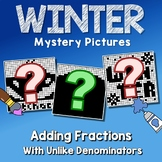 Winter Adding Fractions With Unlike Denominators, Fun Worksheet With Coloring
