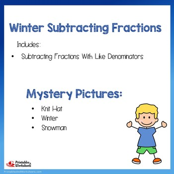 Winter Subtracting Fractions With Like Denominators