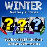 Like Denominator Subtracting Fraction Winter Activity 4th Grade Color-Number