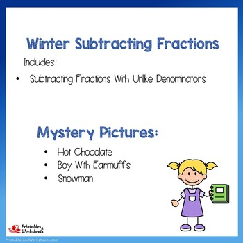 Winter Subtracting Fractions With Unlike Denominators