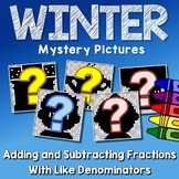 Winter Adding And Subtracting Fractions With Like Denominators Worksheets