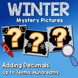 Winter Adding Decimals Project Tenths, Hundredths Mystery Math Coloring Sheet