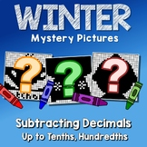 Subtracting Decimals To Tenths, Hundredths, Fun Math Coloring Winter Pages
