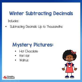 Winter Subtracting Decimals Up to Thousandths