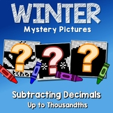 Winter Subtracting Decimal To The Thousandths, Math Coloring Pages By Number