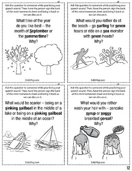 525 Multiple Choice Mini Homework Sheets for Articulation Speech Therapy