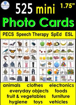 525 Mini Photo Vocabulary Cards 1 75 Pecs Speech Therapy Autism Sped Esl