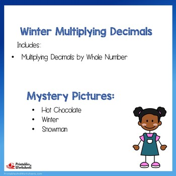 Winter Mystery Picture Math Multiplying Decimals By Whole Numbers Activity