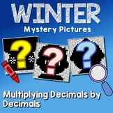 Winter Multiplying Decimals Project, Color By Number Code Worksheets