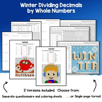 Winter Dividing Decimals By Whole Numbers Activity Mystery Coloring Pages