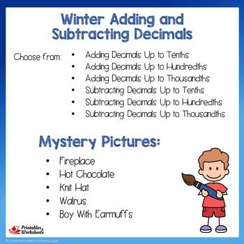 Winter Adding and Subtracting Decimals