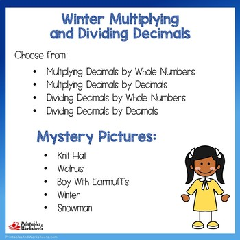Winter Multiplying and Dividing Decimals
