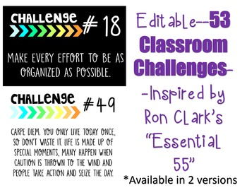 53 Classroom Challenge Poster- Inspired by Ron Clark's Essential 55 - Editable