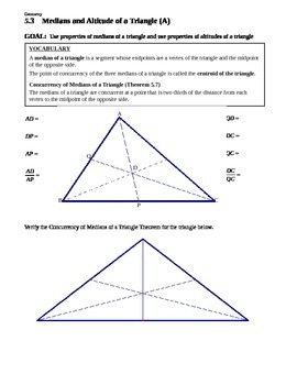5.3 Medians and Altitudes of a Triangle (A)