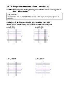 5.3 Writing Linear Equations Given Two Points (Day 1)