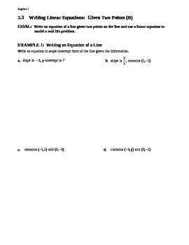 5.3 Writing Linear Equations Given Two Points (Day 2)