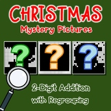 Mystery Picture Pages, Christmas Color By Addition Sheets, 2 Digit Regrouping