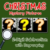 Math Mystery, Christmas 2-Digit Subtraction Coloring Worksheets With Regrouping