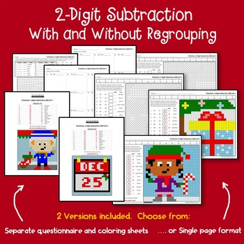 Christmas 2 Digit Subtraction Mystery Pictures