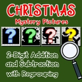 Christmas Color By Addition And Subtraction Worksheets 3 Digits With Regrouping